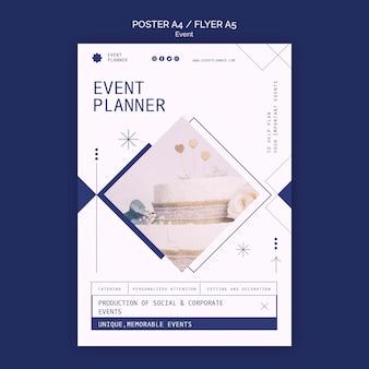 Cartaz vertical para planejamento de eventos sociais e corporativos