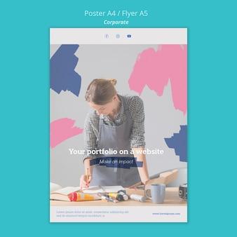 Cartaz vertical para portfólio de pinturas no site
