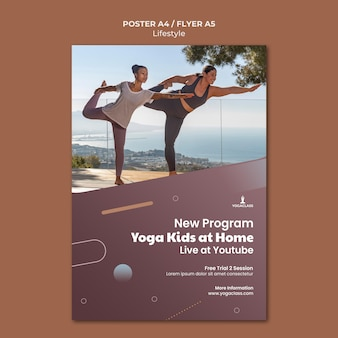 Cartaz vertical para prática e exercícios de ioga