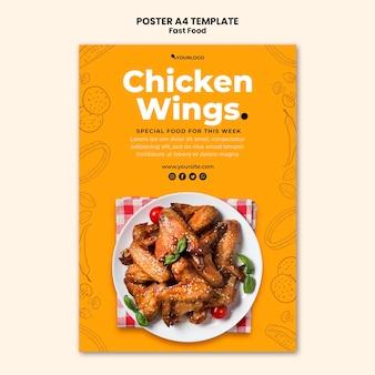 Cartaz vertical para prato de frango frito