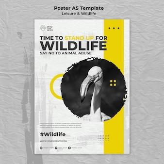 Cartaz vertical para proteção da vida selvagem e meio ambiente