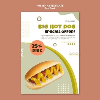 Cartaz vertical para restaurante de cachorro-quente