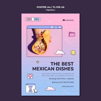Cartaz vertical para restaurante de comida mexicana