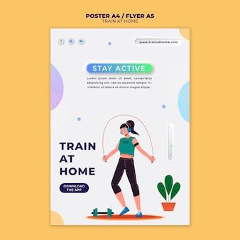 Cartaz vertical para treinamento físico em casa