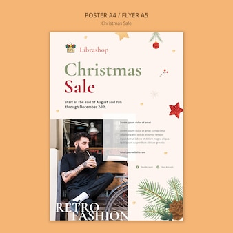 Cartaz vertical para venda de natal