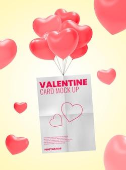 Cartaz voando com maquete de balão de coração
