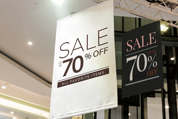 Cartazes com desconto de venda suspensa