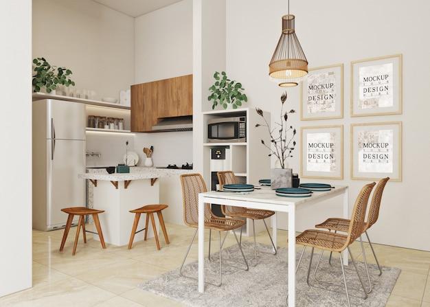 Cartazes de maquete na moderna cozinha aberta branca e sala de jantar