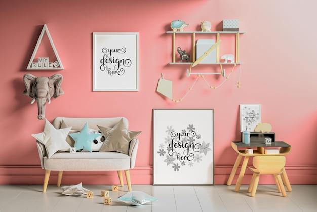 Cartazes de maquete na parede do quarto das crianças em renderização 3d