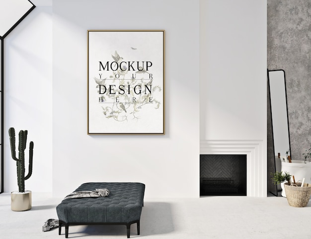 Cartazes de maquete na sala moderna simples com banco de sofá