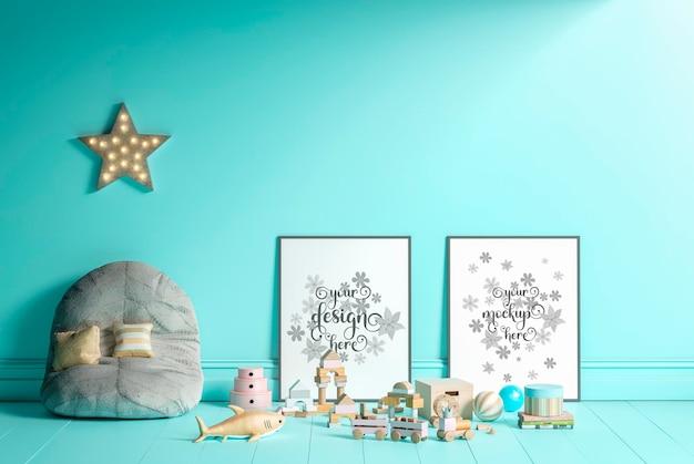 Cartazes de maquete no interior do quarto infantil renderização em 3d