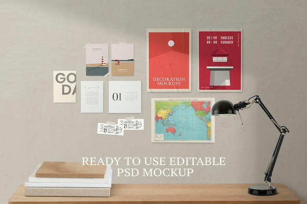 Cartazes mockup psd com mesa de estudo