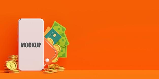 Carteira de dinheiro no pagamento de dinheiro de aplicativo móvel com maquete de telefone