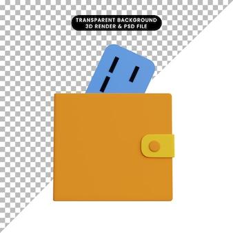 Carteira de ilustração 3d com cartão de crédito
