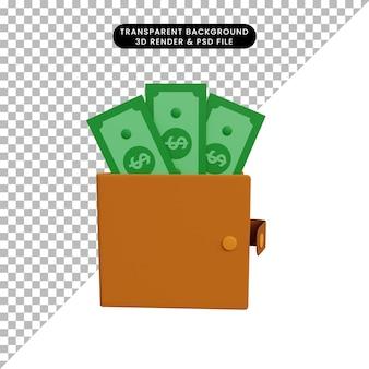 Carteira de ilustração 3d com dinheiro