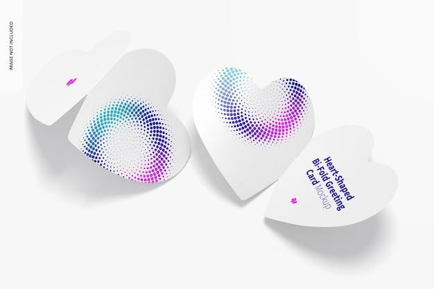 Cartões comemorativos com duas dobras em forma de coração - maquete, vista traseira e frontal