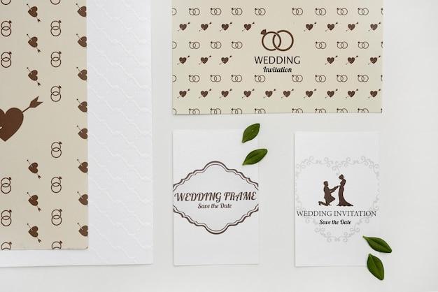 Cartões de convite de casamento fofo