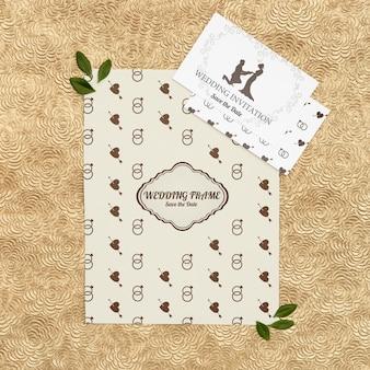 Cartões de convite de casamento lindo