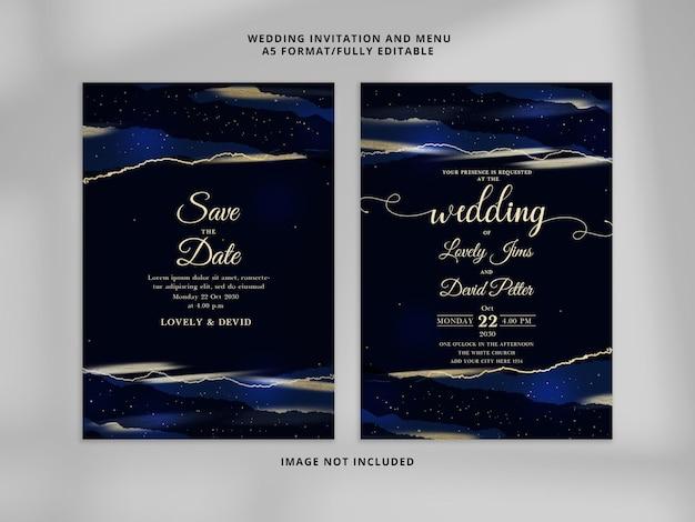 Cartões de convite de casamento realistas em azul royal