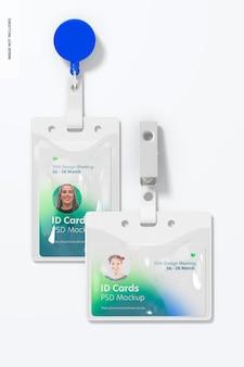 Cartões de identificação com clip mockup