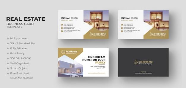Cartões de negócio imobiliário