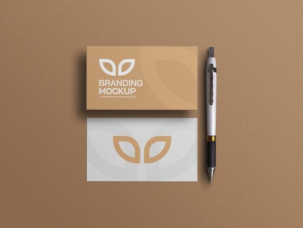 Cartões de visita e maquete de caneta