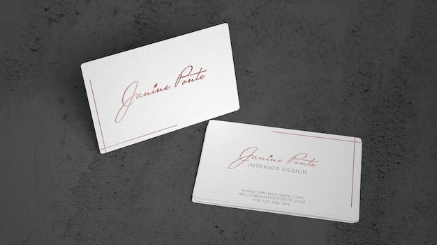Cartões de visita elegantes na superfície de pedra