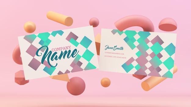 Cartões de visita flutuando com maquete de formas 3d