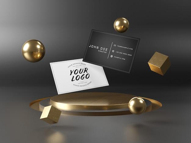 Cartões de visita flutuantes no maquete do pódio do palco