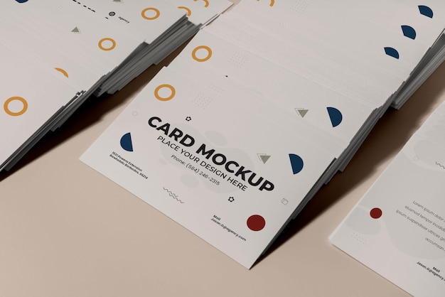 Cartões de visita geométricos de alto ângulo