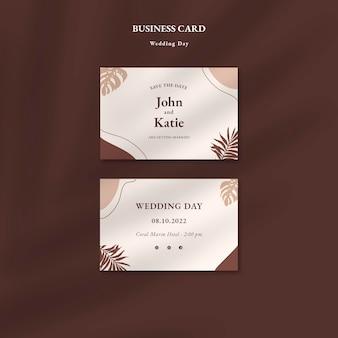 Cartões de visita para o dia do casamento