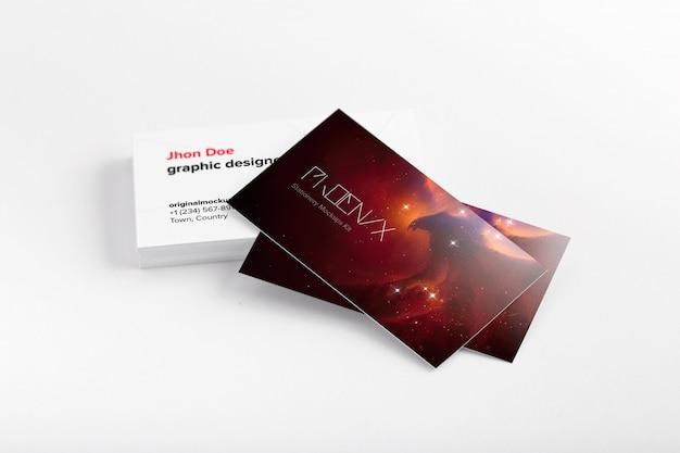 Cartões de visita pilha maquete, vista frontal e traseira