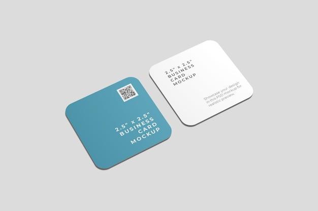 Cartões de visita quadrados arredondados, vista de alto ângulo