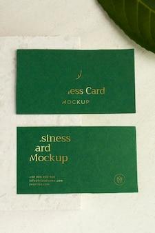 Cartões de visita verdes de vista superior