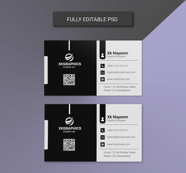 Cartões de visitas corporativos preto e branco