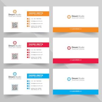 Cartões de visitas em várias cores