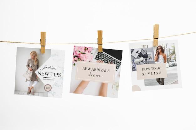Cartões quadrados em uma corda com maquete de prendedores de roupa