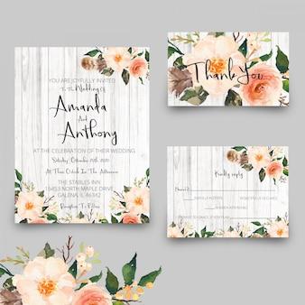 Cartões rústicos do convite do casamento e cartões de agradecimentos do rsvp