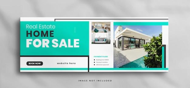 Casa dos sonhos para venda imobiliária modelo de capa do facebook com maquete
