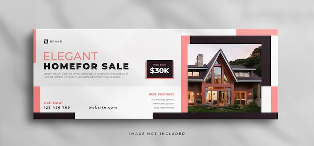 Casa dos sonhos para venda imobiliária modelo de capa do facebook e banner da web