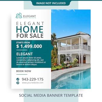 Casa editável para venda banner imobiliário promoções