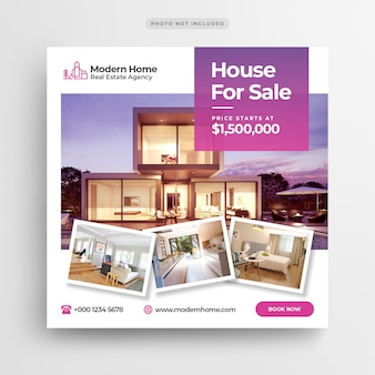 Casa para venda mídia social banner ou folheto quadrado modelo