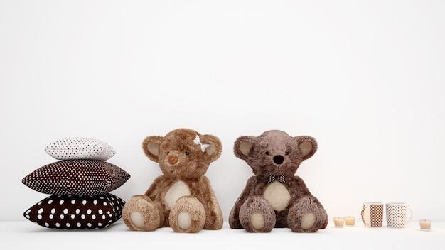 Casal de ursinhos de pelúcia com almofadas e xícaras de café