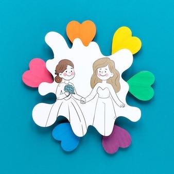 Casal desenhar e corações