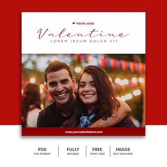 Casal valentine banner com mídias sociais post instagram vermelho