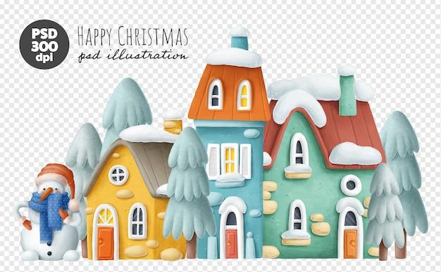 Casas de inverno na neve