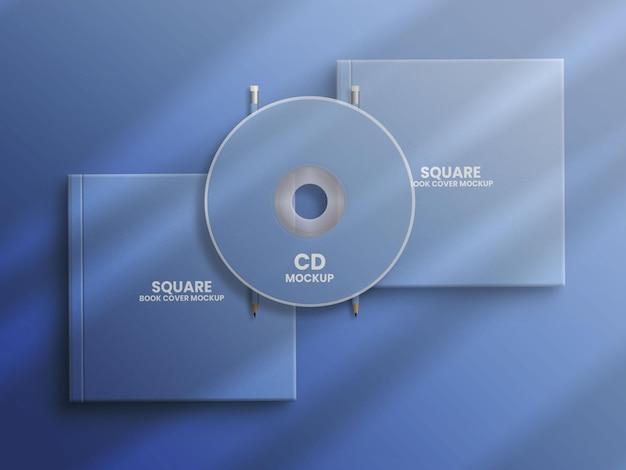 Caset de cd na maquete de livro quadrada