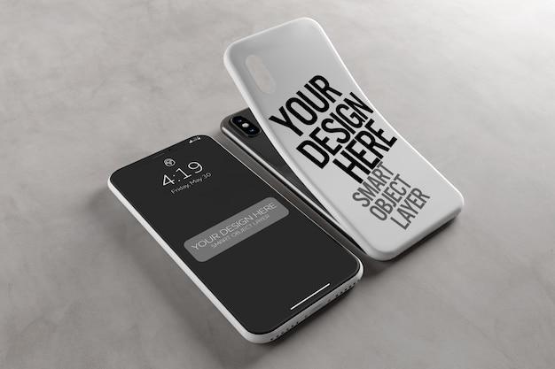 Caso de smartphone e mockup de tela