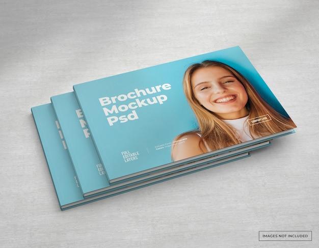 Catálogo de maquete de brochura ampla, capa de revista e livreto