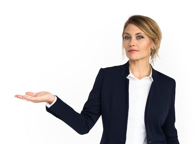 Caucasiano, negócio, desgaste mulher, mostrando